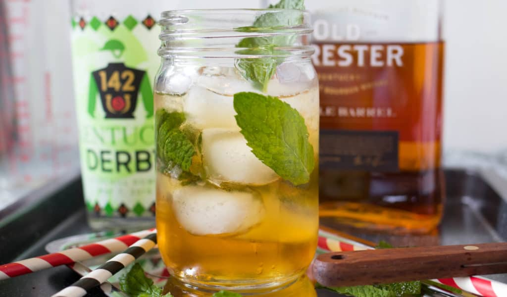 mint julep with bourbon and kentucky derby glass