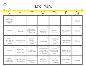 June menu with a dinner idea listed on each day of they week