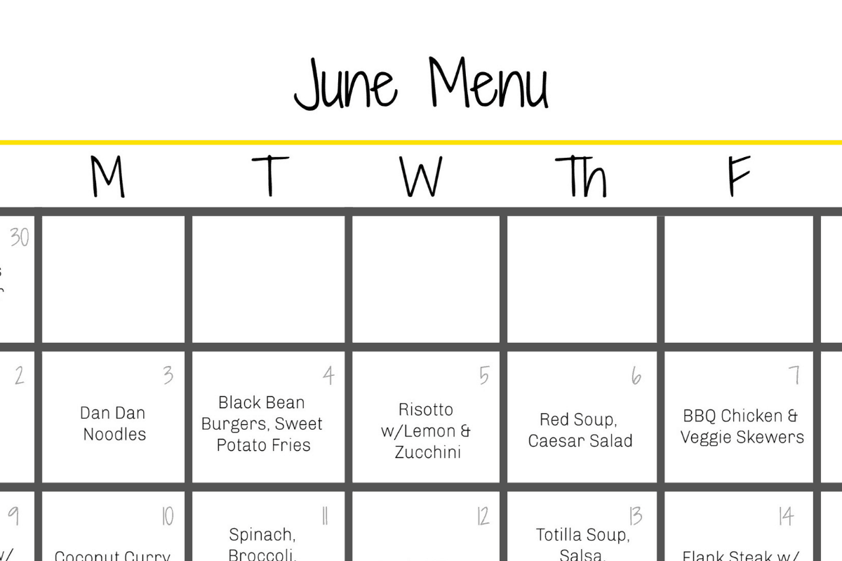 June menu graphic