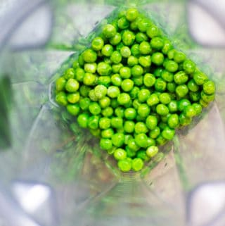 green peas in a vitamix blender container