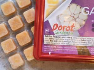 dorot frozen garlic cubes in package