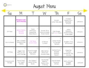 a calendar with a menu plan for august