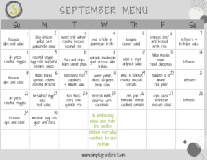 a meal plan for september with dinner ideas for everyday