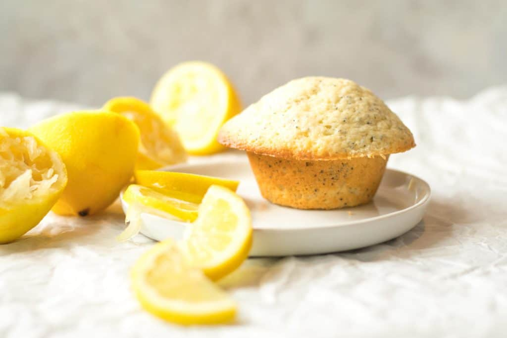 lemon poppy seed muffin on a white plate with lemon slices