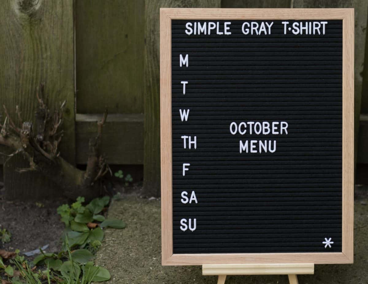 letter board that says October menu
