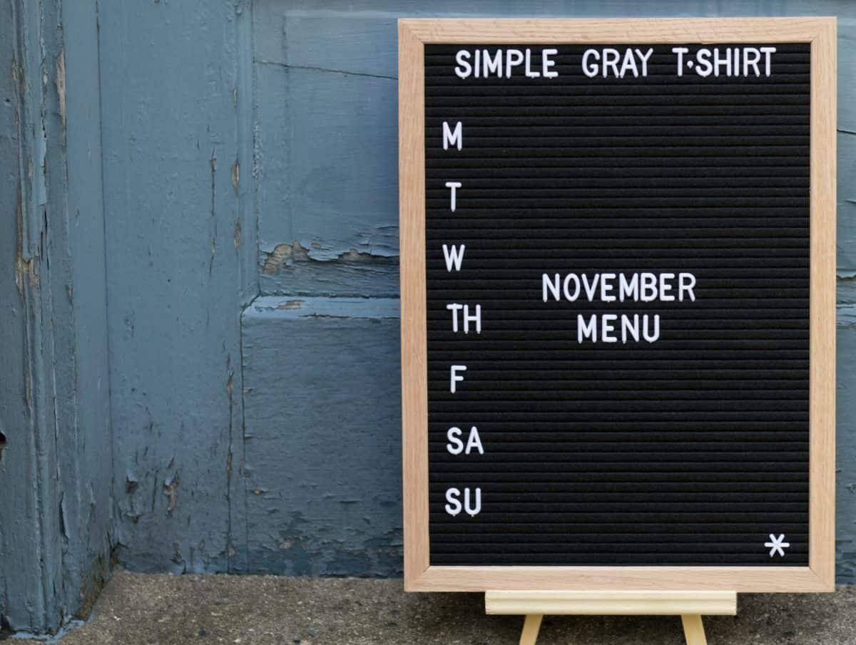 letterboard that says November Menu