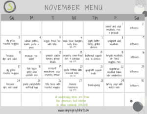 november menu plan for the family