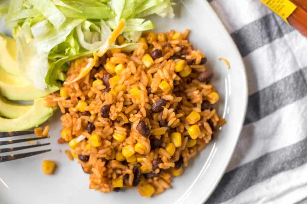 mexican rice skillet on a plate