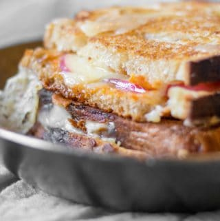 grilled cheese sandwich in a pan