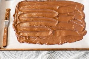 melted chocolate spread out on parchment covered baking sheet