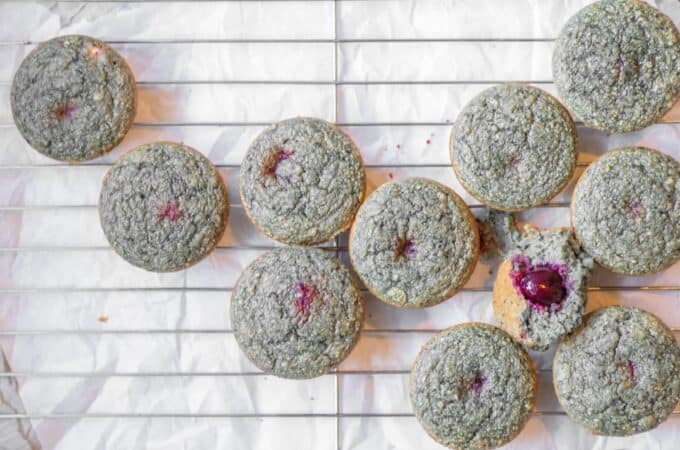 cherry blender muffins on a cooling rack