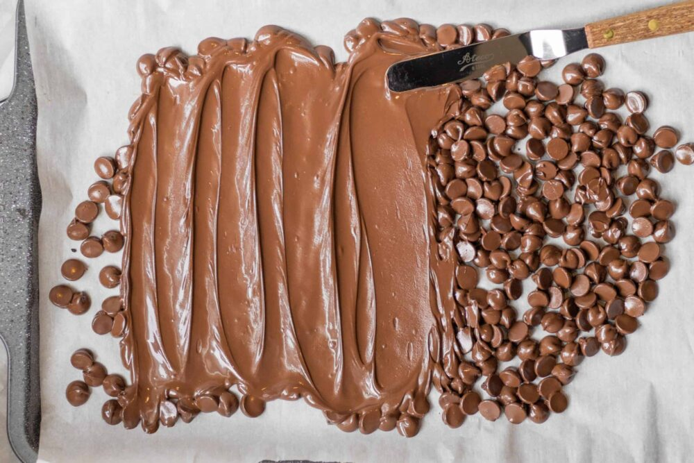 melted chocolate chips being spread in one layer