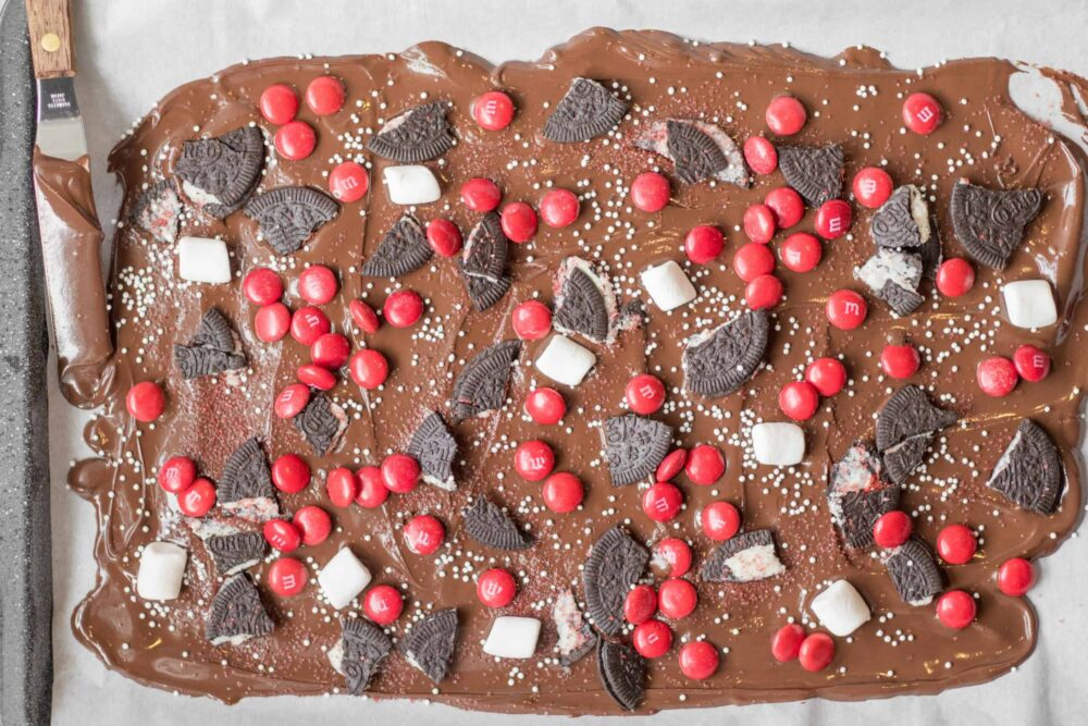 melted chocolate with toppings for chocolate bark