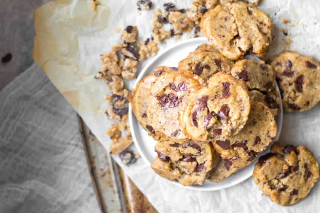 coffee chocolate chunk cookies in a pile on a plate