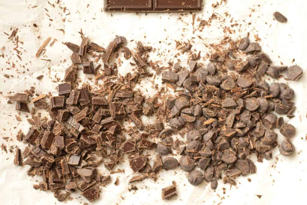 chocolate chunks and chocolate chips that have been cut up