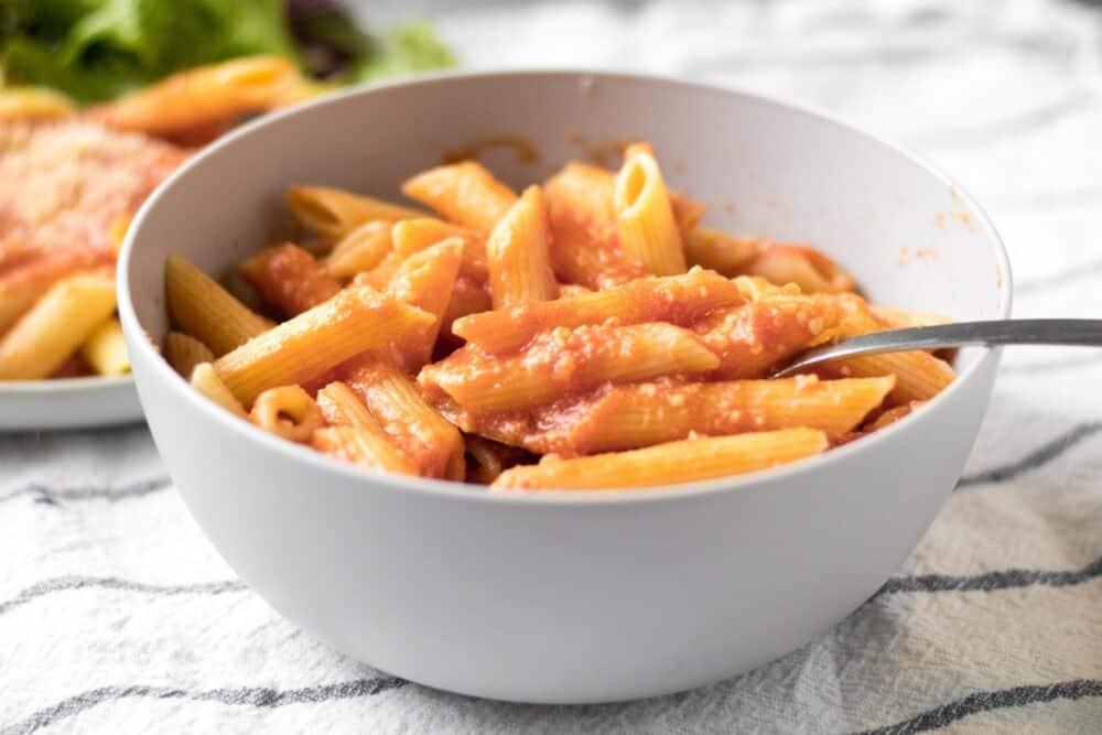 bowl of pink sauce pasta