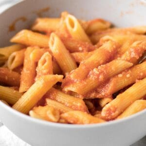 pink sauce pasta in a bowl