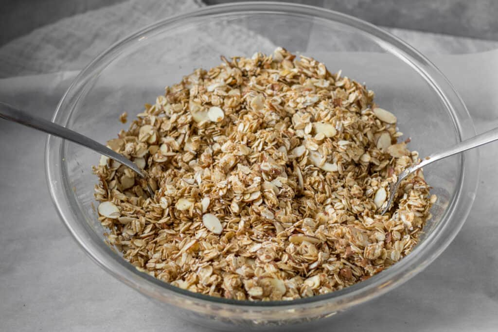 unbaked granola in a bowl