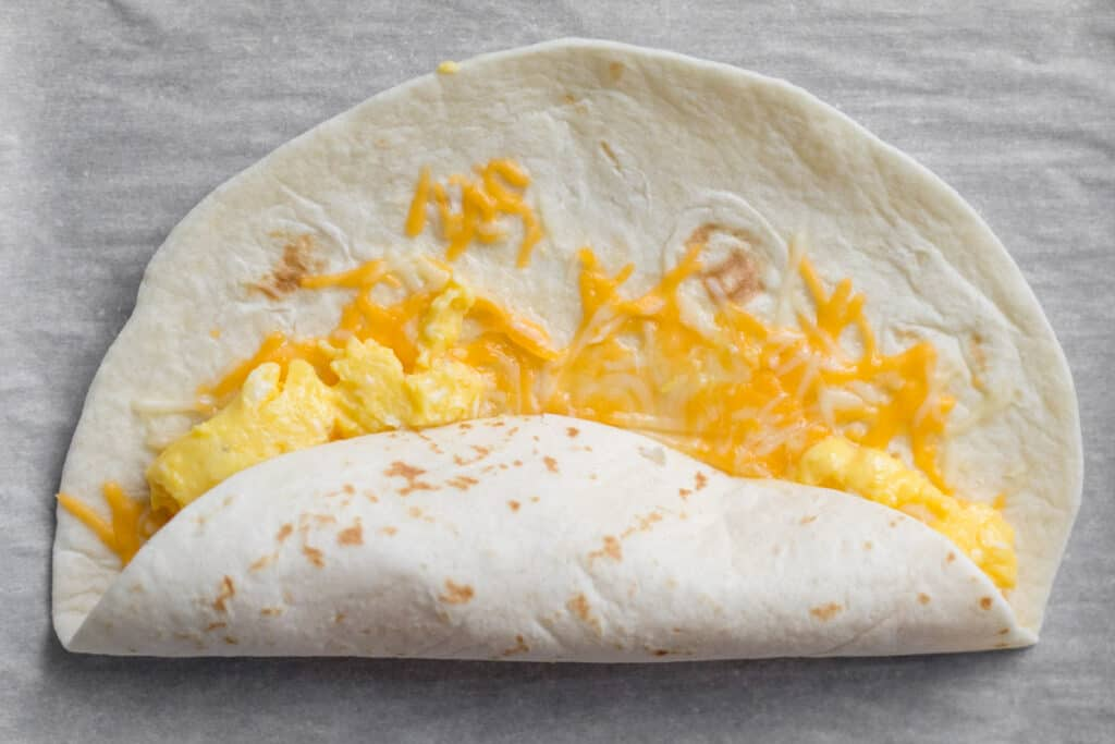 first step in rolling a breakfast burrito