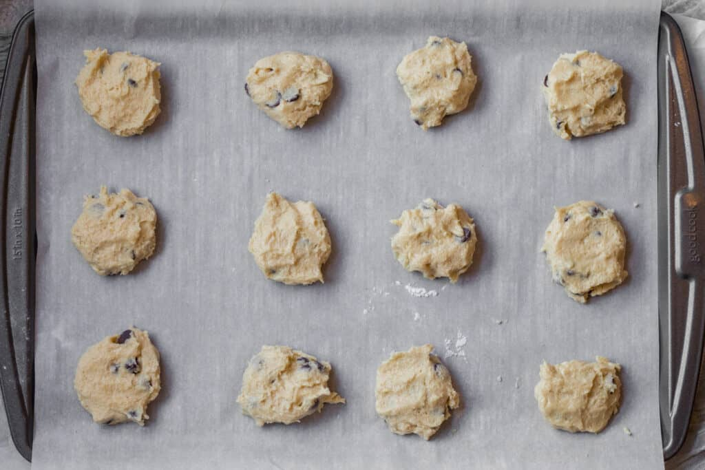 passover chocolate chip cookies on a sheet pan ready to be baked