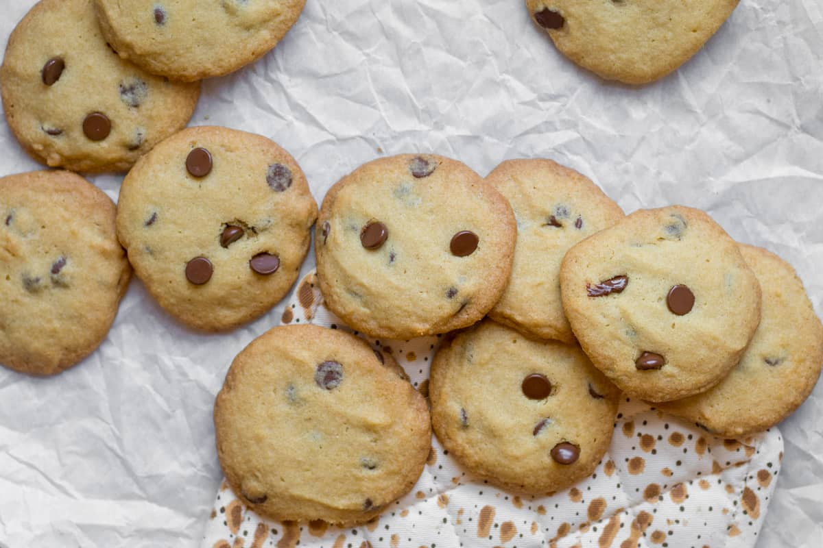 passover chocolate chip cookies on parchment paper