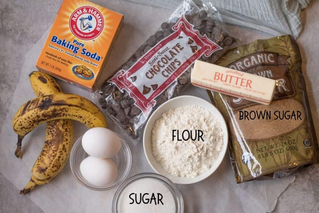 ingredients for one bowl banana bread