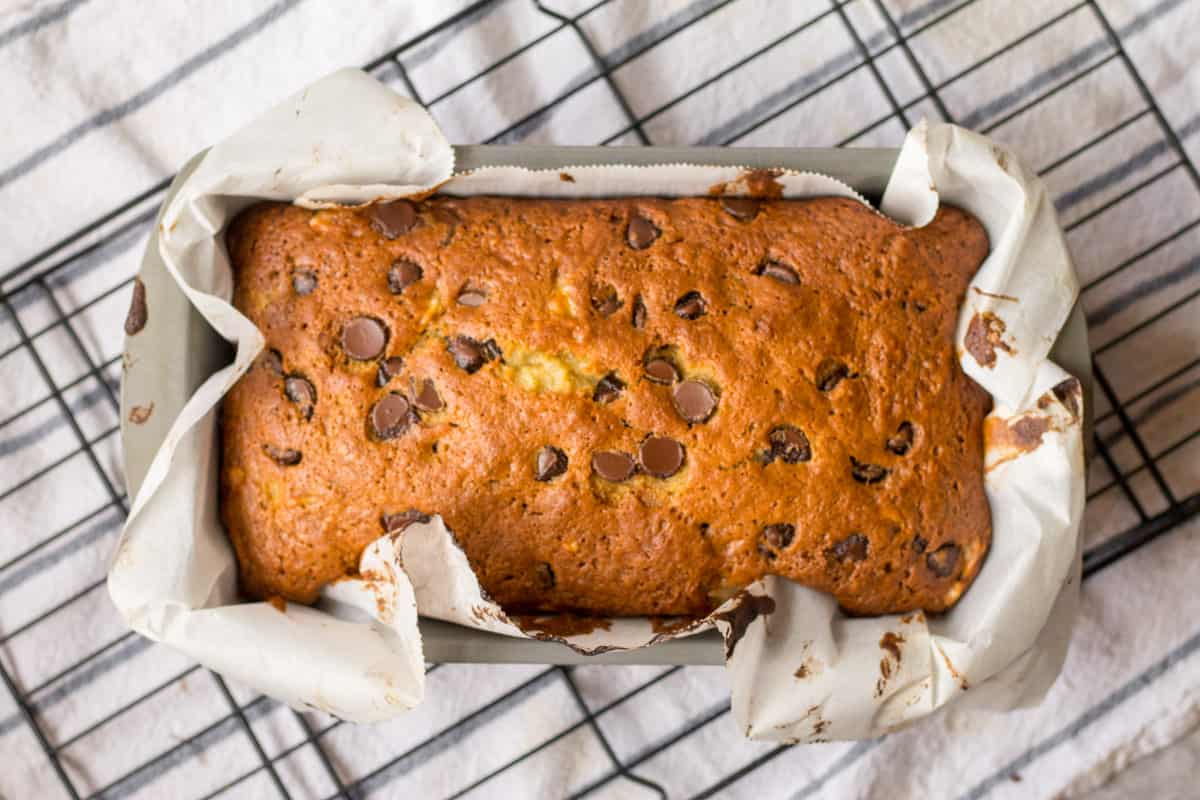 overview of banana bread in loaf pan
