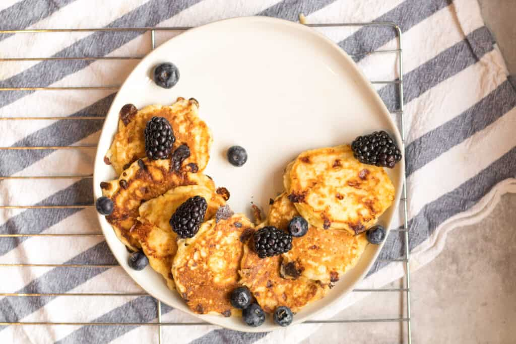 cottage cheese pancakes on a plate