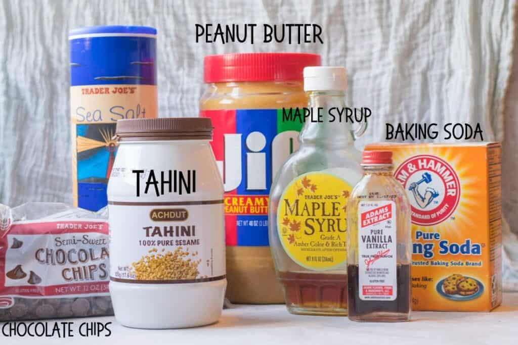 ingredients for tahini chocolate chip bars