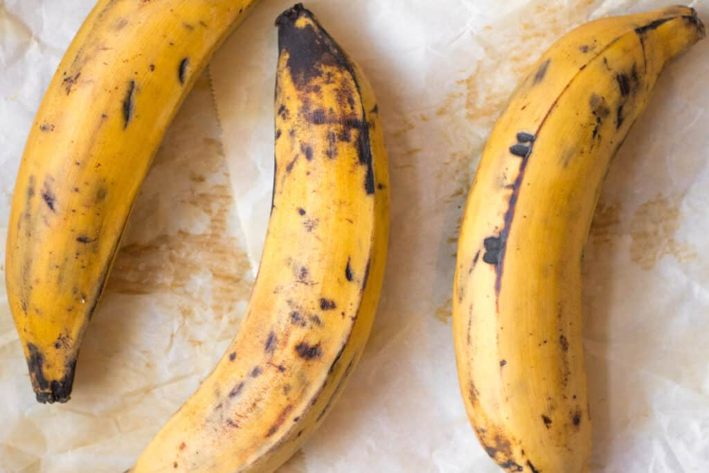 3 yellow and black ripe plantains