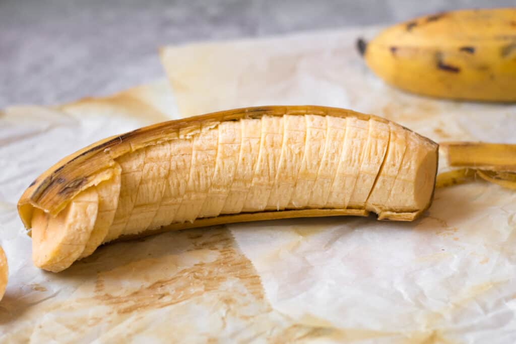 sliced plantain in its peel