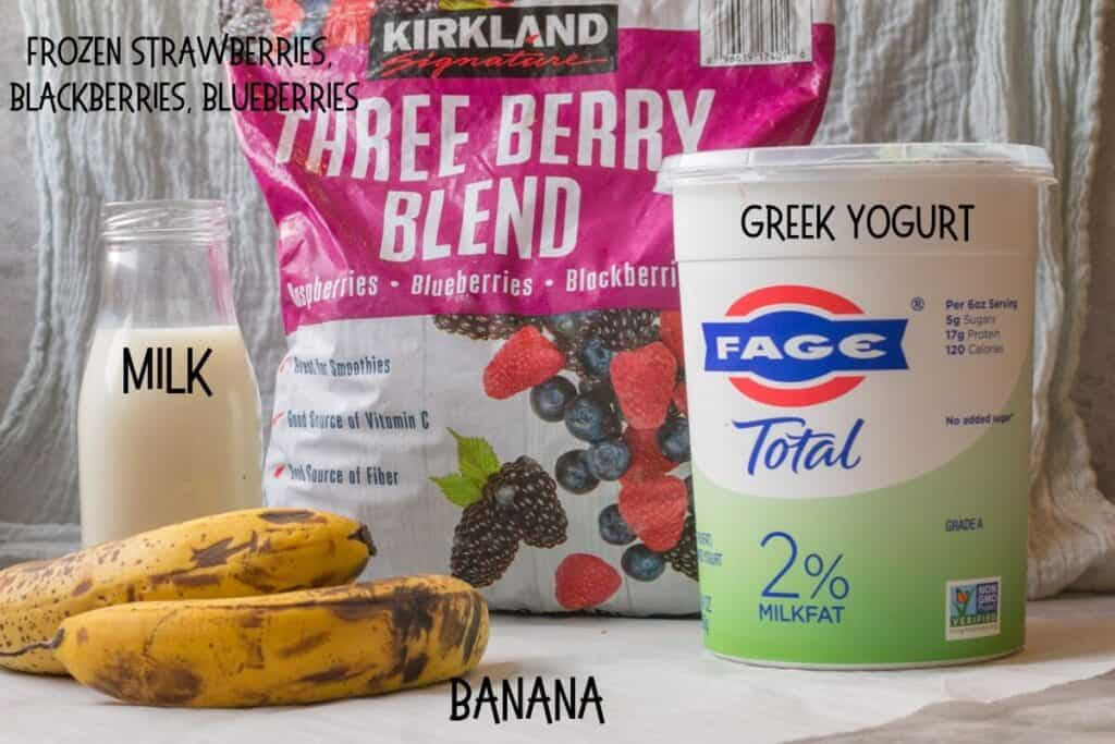 ingredients for triple berry smoothie