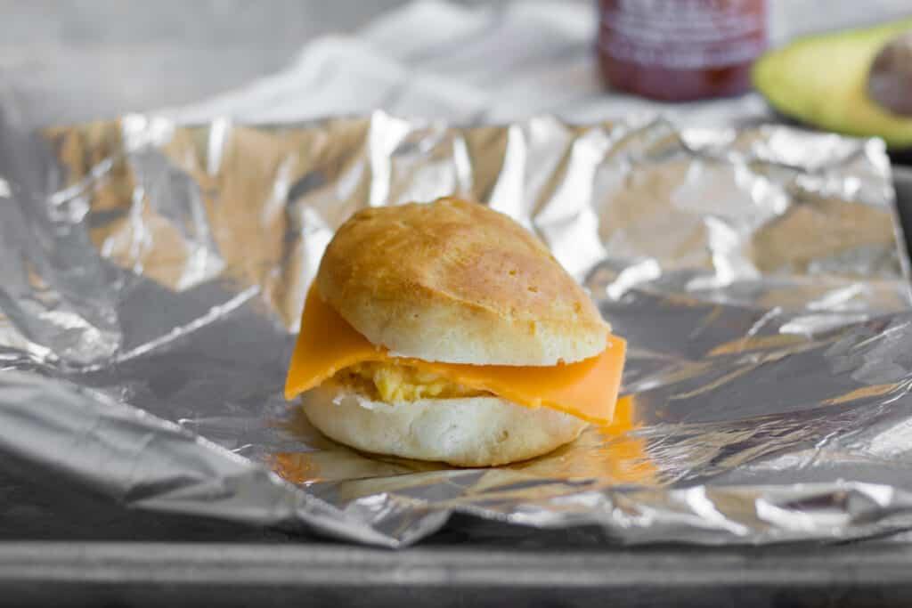 wrapping breakfast sandwich in foil