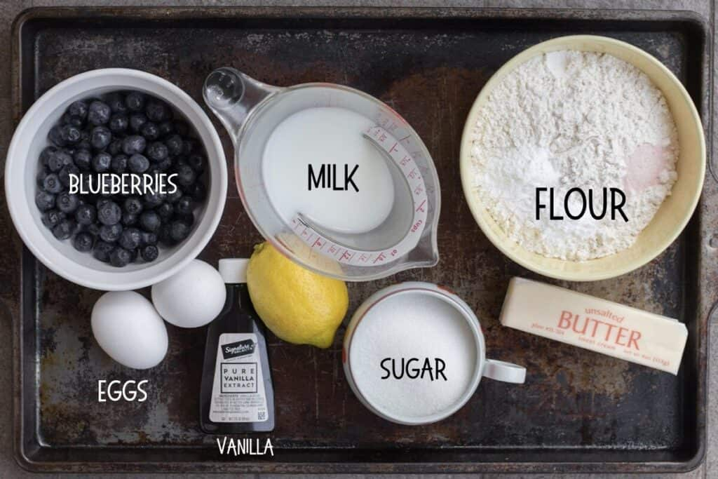 ingredients for blueberry muffins