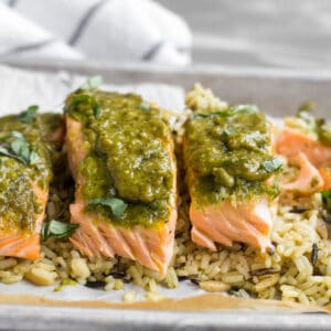 pesto salmon on rice