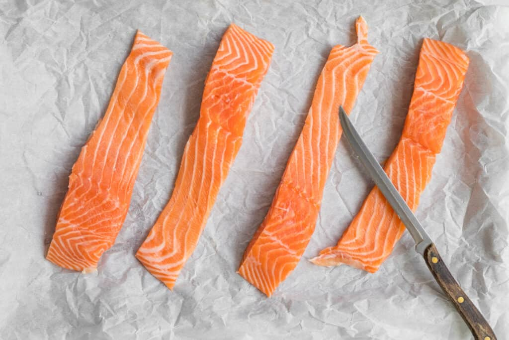 "salmon cut into 2"" wide pieces"