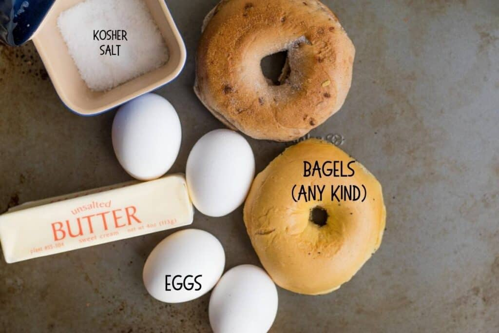 ingredients for egg in a hole bagels