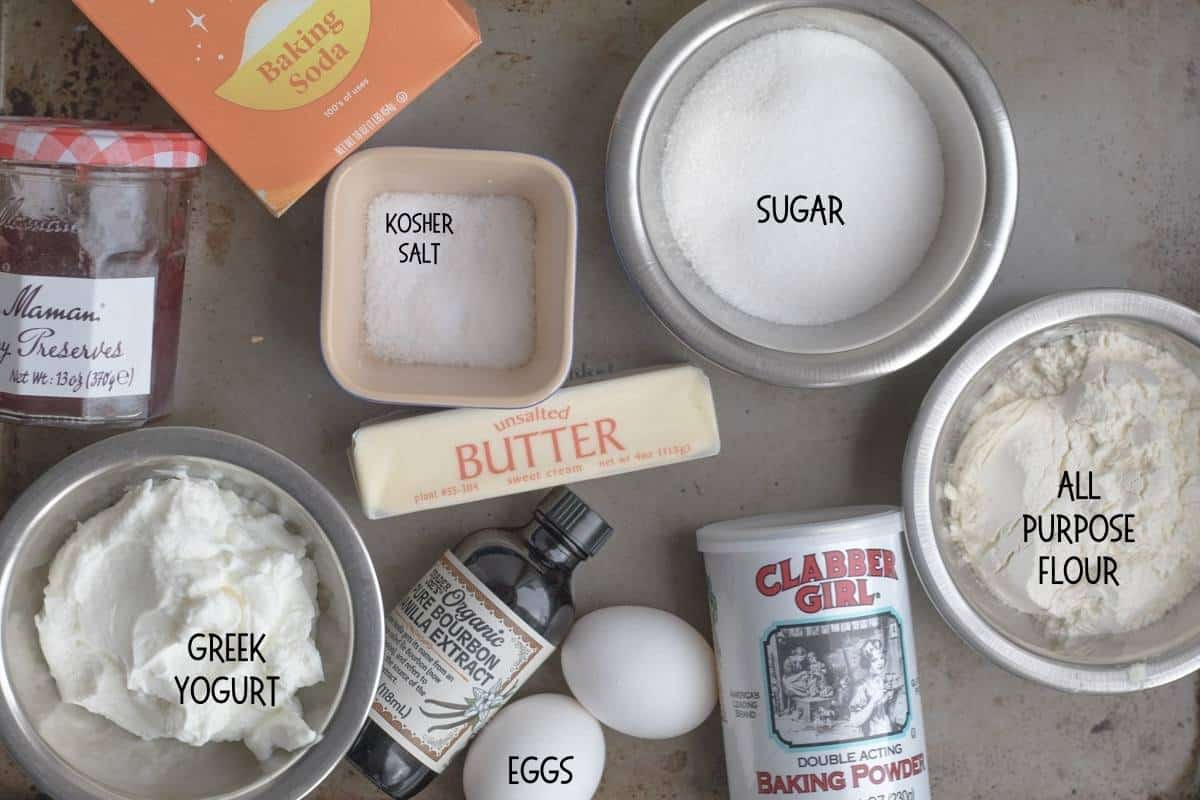 ingredients for coffee cake with strawberry jam