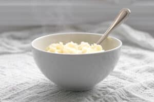 instant mashed potatoes in a bowl