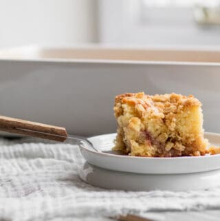 piece of coffee cake on a server with white dish behind