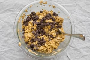 breakfast cookie batter in a mixing bowl
