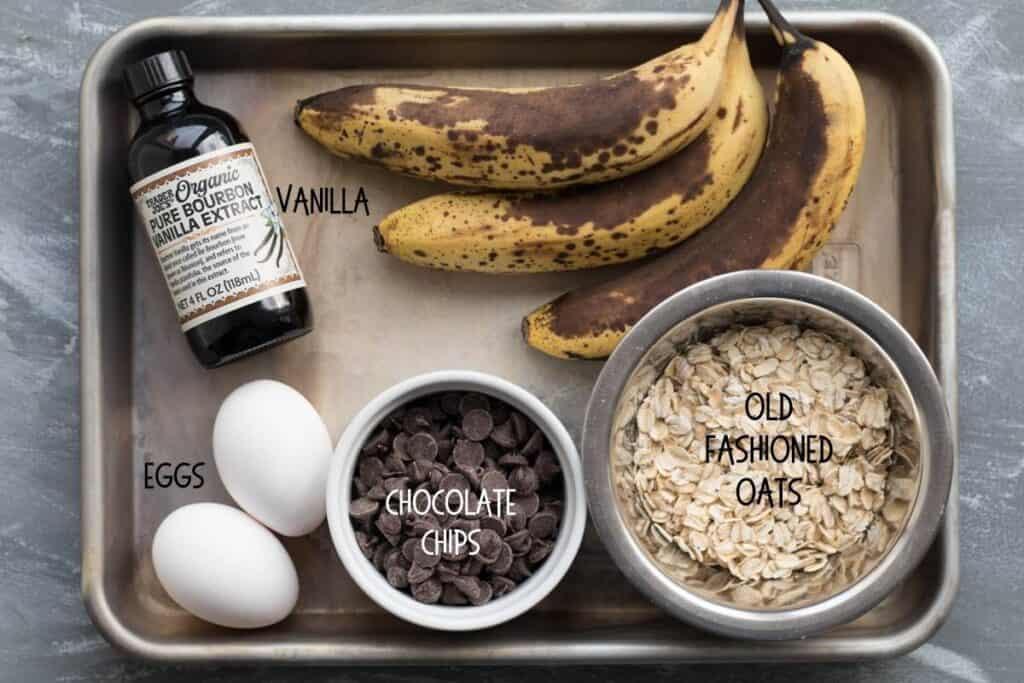 ingredients for banana breakfast cookies on a sheet pan
