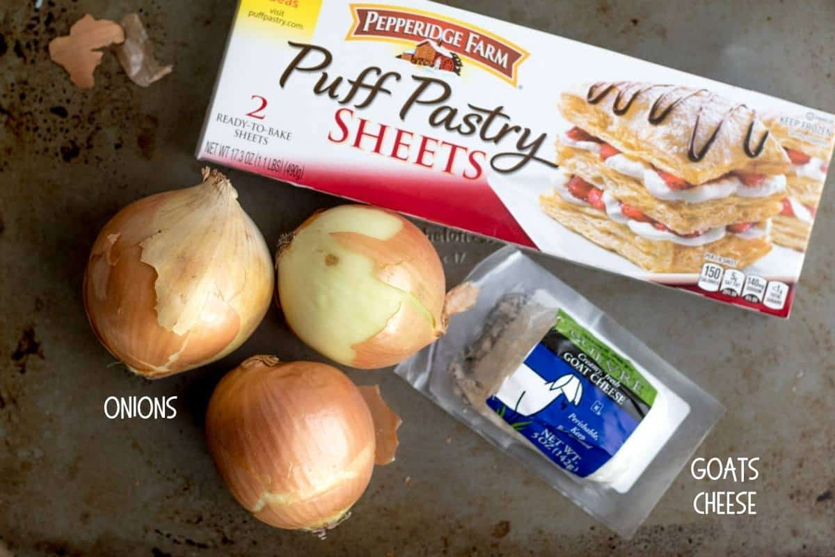 ingredients for onion and goat cheese tart