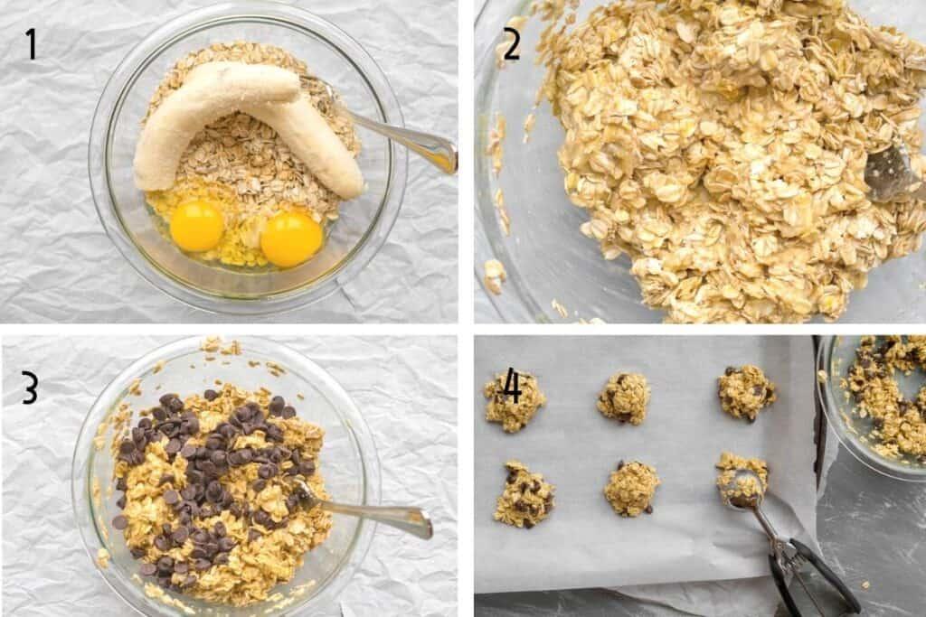 4 steps for making breakfast cookies