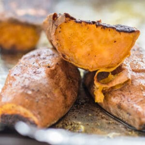 roasted sweet potato cut in half