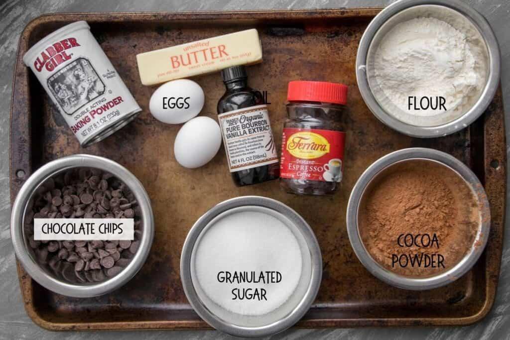 ingredients for one bowl brownies