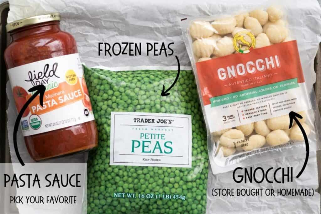 ingredients for gnocchi with peas