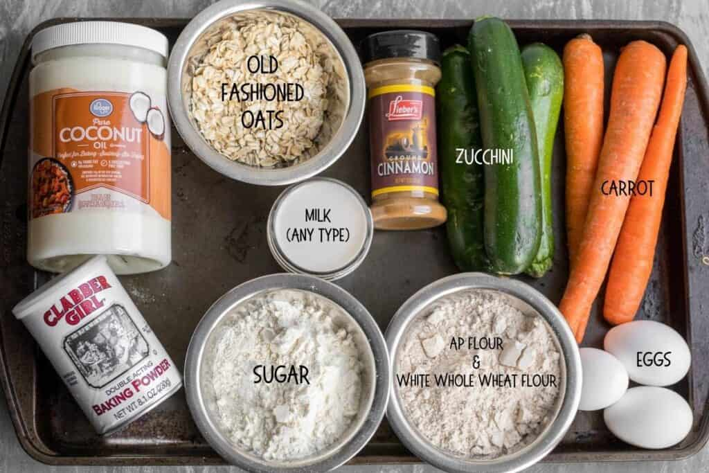 ingredients for zucchini carrot muffins
