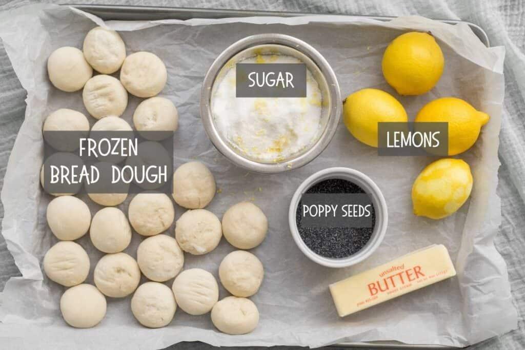 ingredients for lemon poppy seed monkey bread