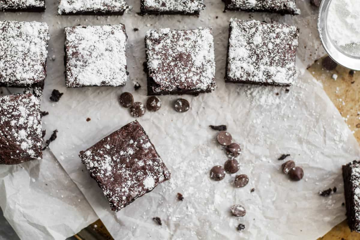 brownies on parchment paper with chocolate chips